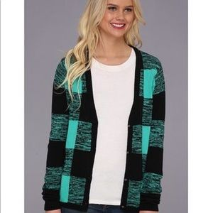Volcom Motley cardigan green black checkered Sz L